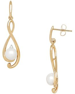 6/6 Mm Freshwater White Button Pearl, Diamond And Yellow Gold Earrings
