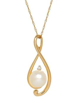 8/8 Mm Freshwater White Button Pearl, Diamond And Yellow Gold Pendant Necklace