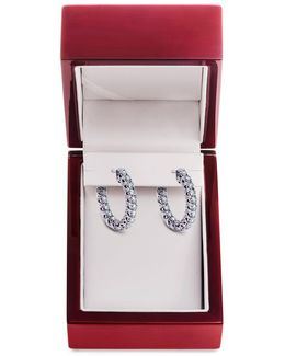 Diamond And 14k White Gold Hoop Earrings, 1 Tcw