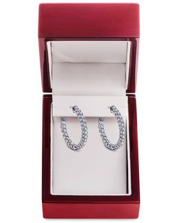 Diamond And 14k White Gold Hoop Earrings, 2 Tcw