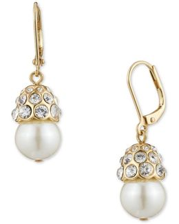Pave And Faux Pearl Clip-on Drop Earrings