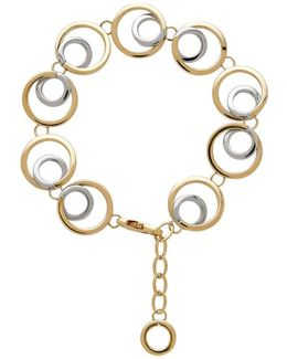 14k Italian Gold Double Open Circle Link Bracelet