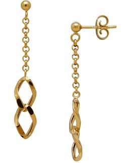 14k Italian Gold Double Interlock Marquis Links Dangling Earrings