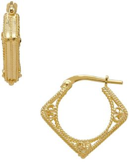14k Italian Gold Diamond Shaped Hoop Earrings