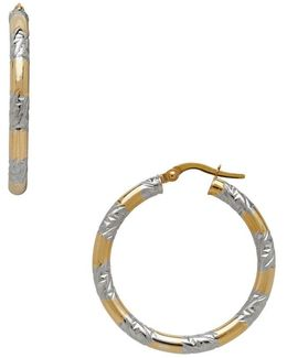 14k Pdc Italian Gold And Rhodium Stations Round Hoop Earrings