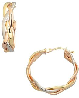 14k Three-tone Gold Braided Hoop Earrings