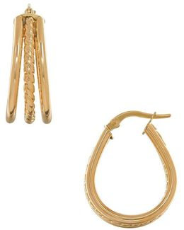 14k Italian Gold Pear Shaped Hoop Earrings