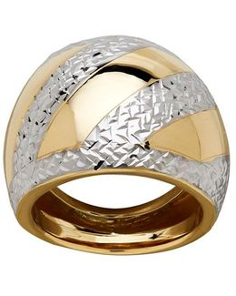 Gold Rush 14k Yellow Gold Asymmetrical Textured And Striped Dome Ring