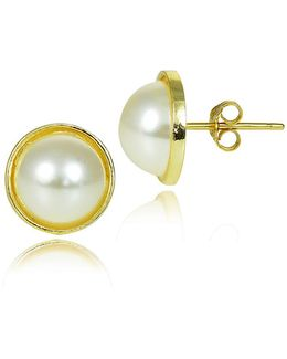 Faux Pearl And Goldtone Button Stud Earrings