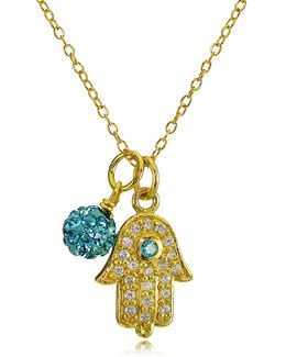 Goldtone Hamsa Hand And Fireball Pendant Necklace