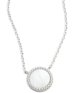 Cubic Zirconia And Sterling Silver Disc Pendant Necklace
