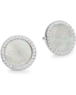 Cubic Zirconia And Sterling Silver Disc Post Earrings