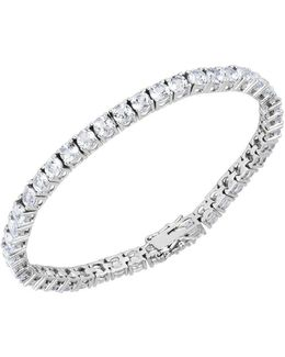 Cubic Zirconia And Sterling Silver Line Bracelet