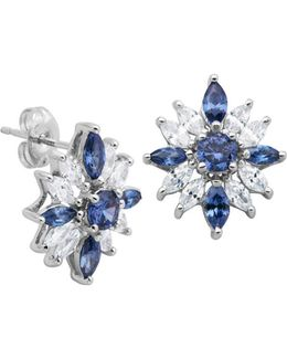Cubic Zirconia And Sterling Silver Stud Earrings
