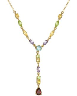 18k Yellow Goldplated Multi-stone Y Necklace