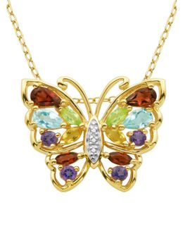 Multi-stone Butterfly Pendant Necklace