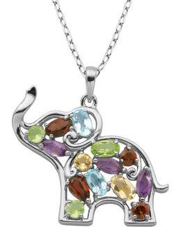 Multi-stone Elephant Pendant Necklace
