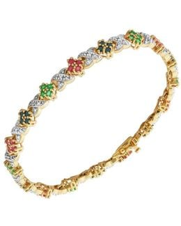 18k Yellow Goldplated Multi-stone Tennis Bracelet