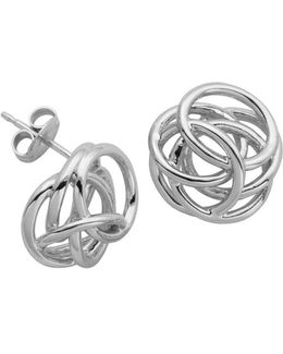 High Polished Geometric Knot Stud Earrings