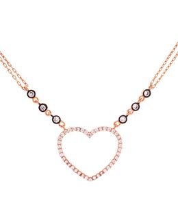 Cubic Zirconia And Sterling Silver Open Heart Necklace