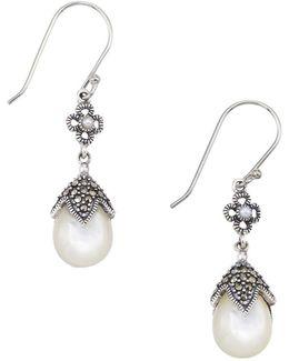 2mm Freshwater Pearl Pear Drop Earrings