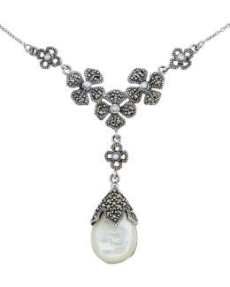 Mother Of Pearl Pear Pendant Necklace