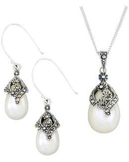 Pear Teardrop Earrings And Pendant Necklace Set