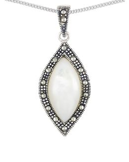 Mother Of Pearl Marquise Teardrop Pendant Necklace