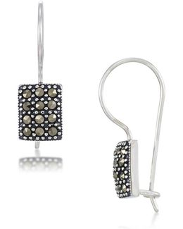 Sterling Silver Square Drop Earrings