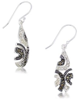 Marcasite, Crystal And Sterling Silver Drop Earrings