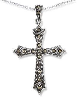 Marcasite Cross Pendant Necklace