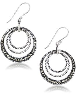 Marcasite And Sterling Silver Braided Circle Earrings