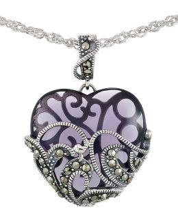 Marcasite Heart Pendant Necklace