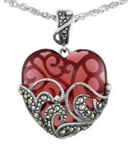 Marcasite Heart Pendant Necklace