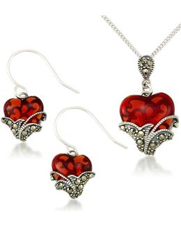 Heart Pendant Necklace And Earrings Set