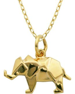 18k Yellow Goldplated Sterling Silver Origami Elephant Pendant Necklace