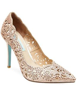 Elsa Embellished Fabric Cutout Pumps