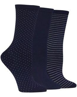 Printed Three Pack Trouser Socks
