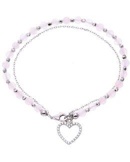 Cubic Zirconia Heart Pink Bead Bracelet