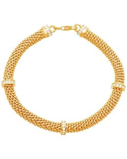 18k Goldplated Sterling Silver Station Popcorn Mesh Bracelet
