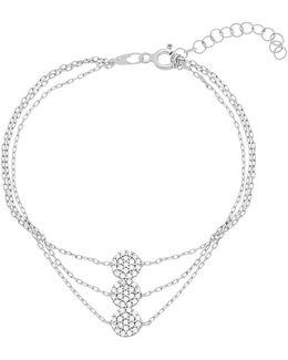 Pave Cubic Zirconia Station Triple Strand Bracelet
