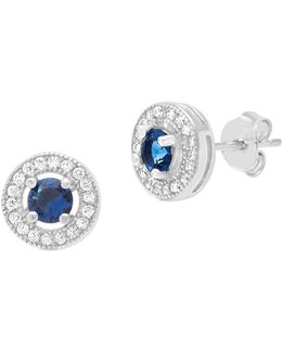 Cubic Zirconia Round Sapphire Stud Earrings