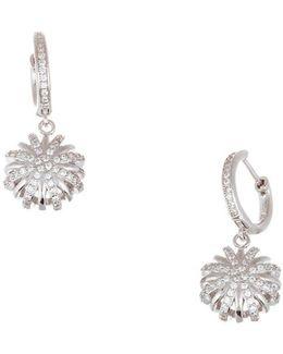 Ubic Zirconia Round Starburst Huggie Earrings