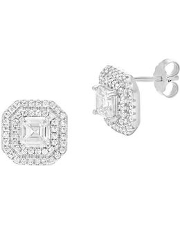Cubic Zirconia Square Center Stud Earrings