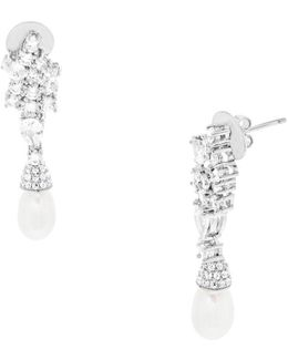 Freshwater Pearls, Cubic Zirconia And Sterling Silver Drop Earrings