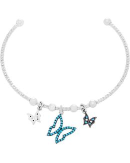 Blue Cubic Zirconia Butterfly Charms Bangle