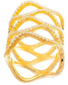 Cubic Zirconia Wide Wavy Shield Ring