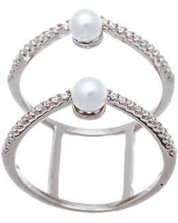 Double Strand Cubic Zirconia And Fresh Water Pearl Ring