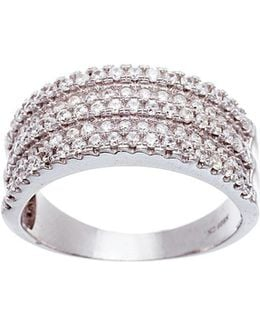 Three Row Pave Cubic Zirconia Ring