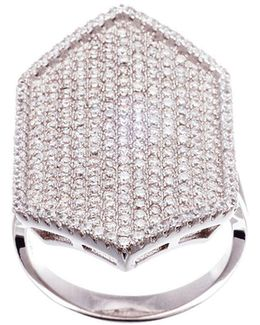 Pave Cubic Zirconia Hexagonal Ring